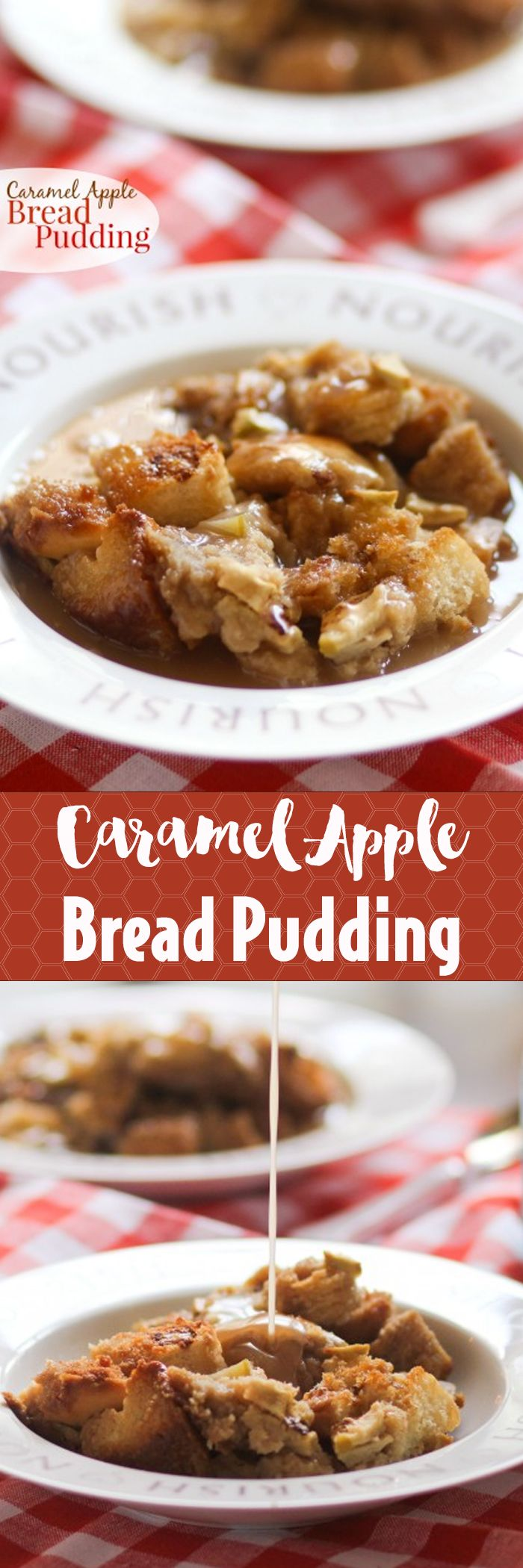 Caramel Apple Bread Pudding -- so cozy and comforting! Perfect fall dessert!