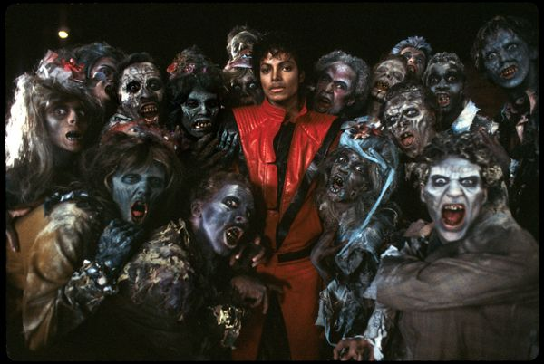 Michael Jackson and zombies on the set of Thriller