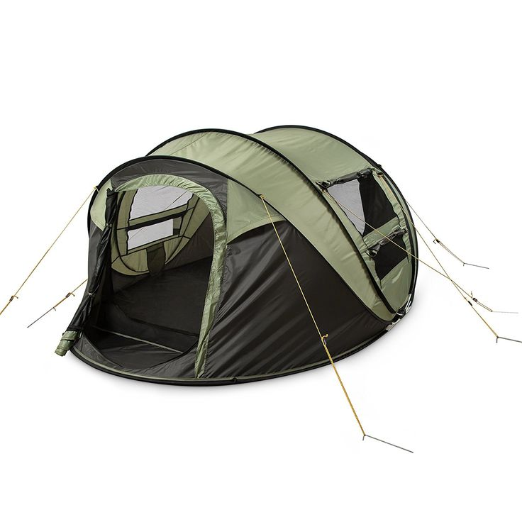 FiveJoy 4-Person Instant Pop-Up Tent - Automatic Setup in Seconds - Easy Fold Up - Great Family Outdoor Camping Tents Shelters * To view further for this item, visit the image link.