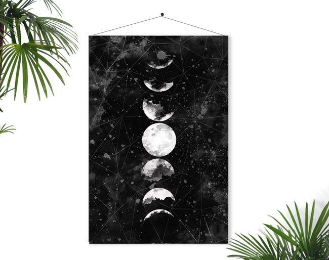 Галактика и фазы луны в роскошном дизайне интерьера