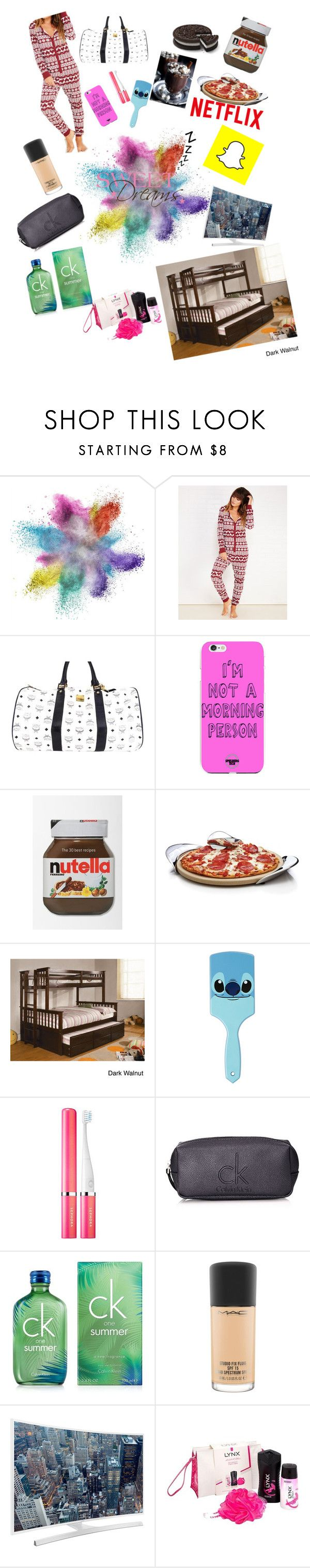 """""""sleepover!!!! """" by selinajones123 ❤ liked on Polyvore featuring Wet Seal, MCM, Nambé, Furniture of America, Disney, Sephora Collection, Calvin Klein, MAC Cosmetics, Samsung and Lynx"""