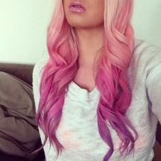 Pink to purple ombre hair. lovee