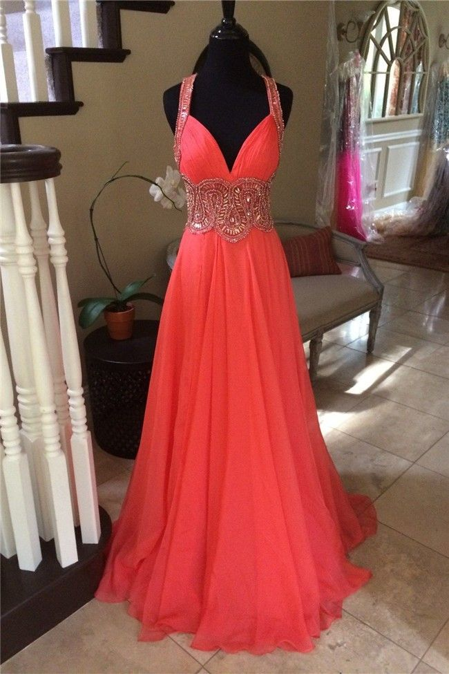 Stunning Sweetheart Long Coral Chiffon Beaded Prom Dress With Straps
