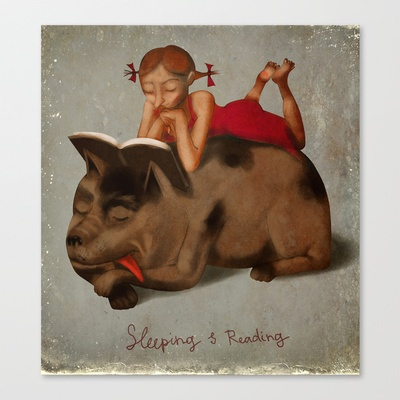 Sleeping & Reading Stretched Canvas by beatipossidentis - $85.00