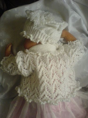"Lace baby jacket: ""Torni kiri"" Estonian lace pattern; picot hem. I like the collar, too, but would definitely choose a different hat."