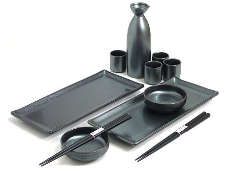 Black Crystal Sake/Sushi Set - Dine in Style with this Cool Sushi Set - www.mysushiset.com/sushi-sake-set-black-crystal.html