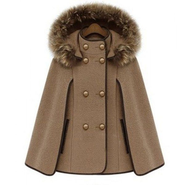 Trendy Detachable Hooded Cape-Style Worsted Solid Color Coat For Women, CAMEL, XL in Jackets & Coats   DressLily.com