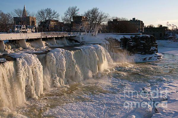 Frozen waterfall on Ottawa river at winter time in Ottawa Canada