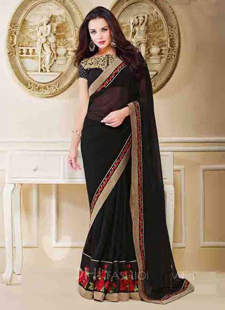 Black Georgette Designer Saree  #bollywood saree #wedding saree #saris
