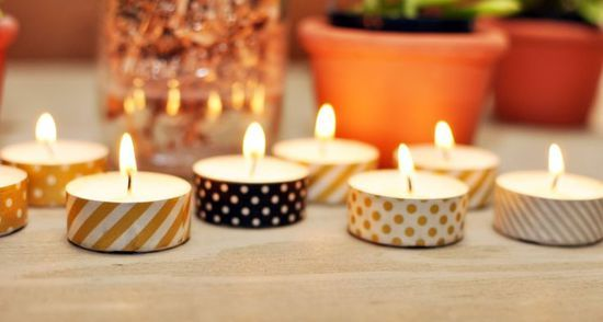 Stole this from Courtney! Tea Lights covered in washi tape. Cheap, cute, love!