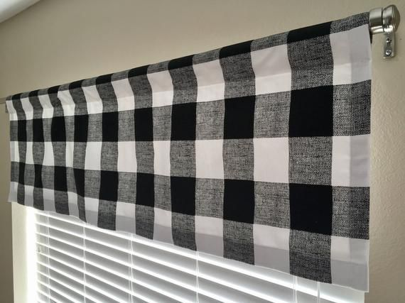 Black And White Buffalo Plaid Check Window Valance Black Checked Curtains Large Check Kitchen With Images Kitchen Window Valances Check Curtains Buffalo Check Curtains