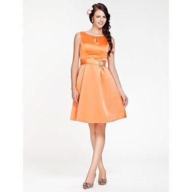 Knee-length+Satin+Bridesmaid+Dress+-+Orange+Plus+Sizes+/+Petite+A-line+/+Princess+Scoop+–+USD+$+79.99