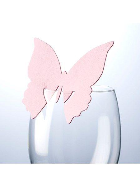 Bordkort Glaskort, Sommerfugl lyserødt, 10 stk.