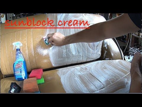 How easy and quick to clean Leather seats in the car using of sunblock cream