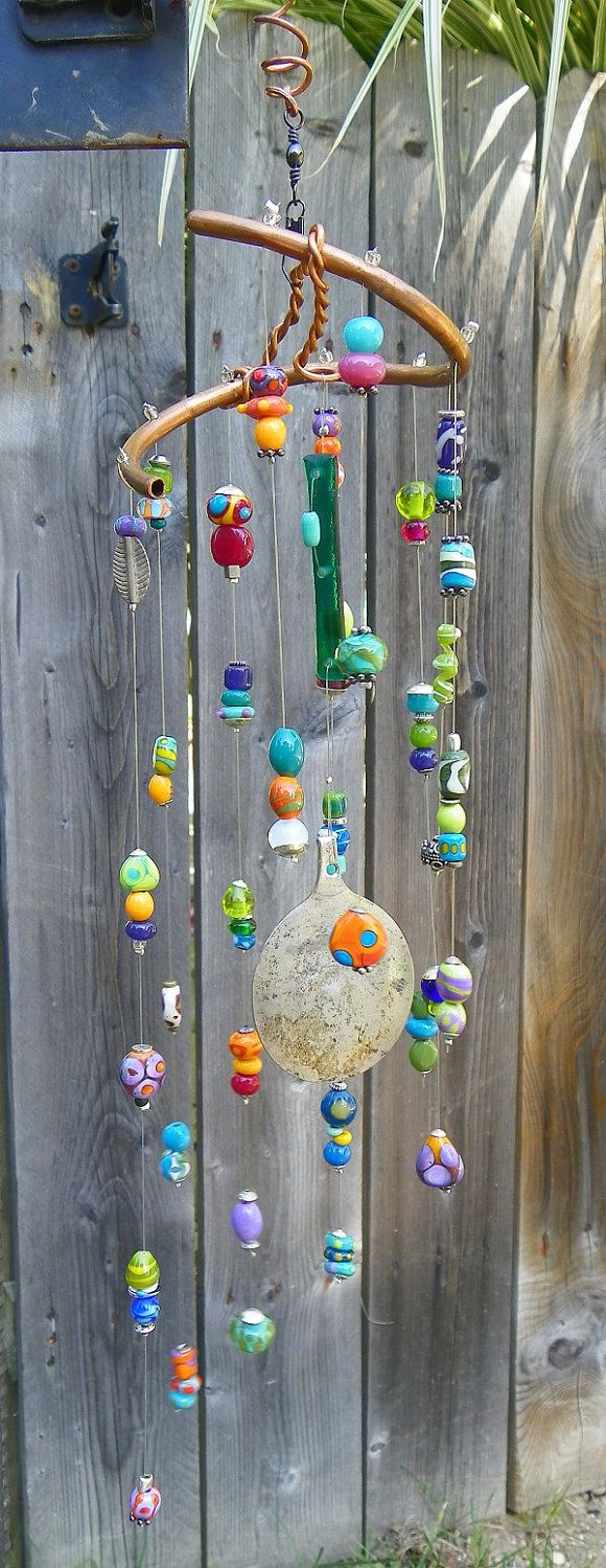 One of a Kind Windchime w/ Lampwork beading and Sea glass. Etsy