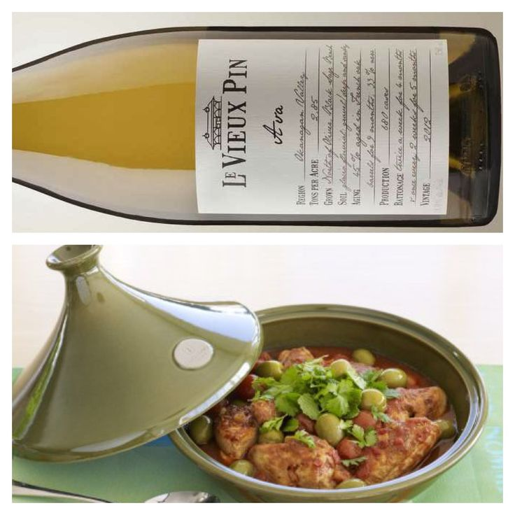 A Wine & Food Pairing from Alex (our Wine Club Manager & Tasting Room Supervisor): Wine - Ava (Viognier, Roussanne, Marsanne blend) Food - Moroccan Chicken Tagine with Apricots and Almonds. Ava has body and weight. It is often overlooked at it's ability to handle spice and chillies. Viognier's classic stone fruit flavours will pair nicely with the apricots found in the dish.  $35 - http://www.levieuxpin.ca/product/blanc-rose/2012-ava/