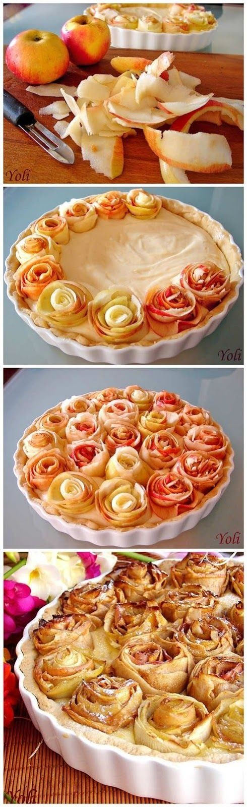 Apple Pie With Roses - made with pieces of shaved apple. Use a potato peeler to make the shavings & brush them with pineapple juice to prevent premature browning.