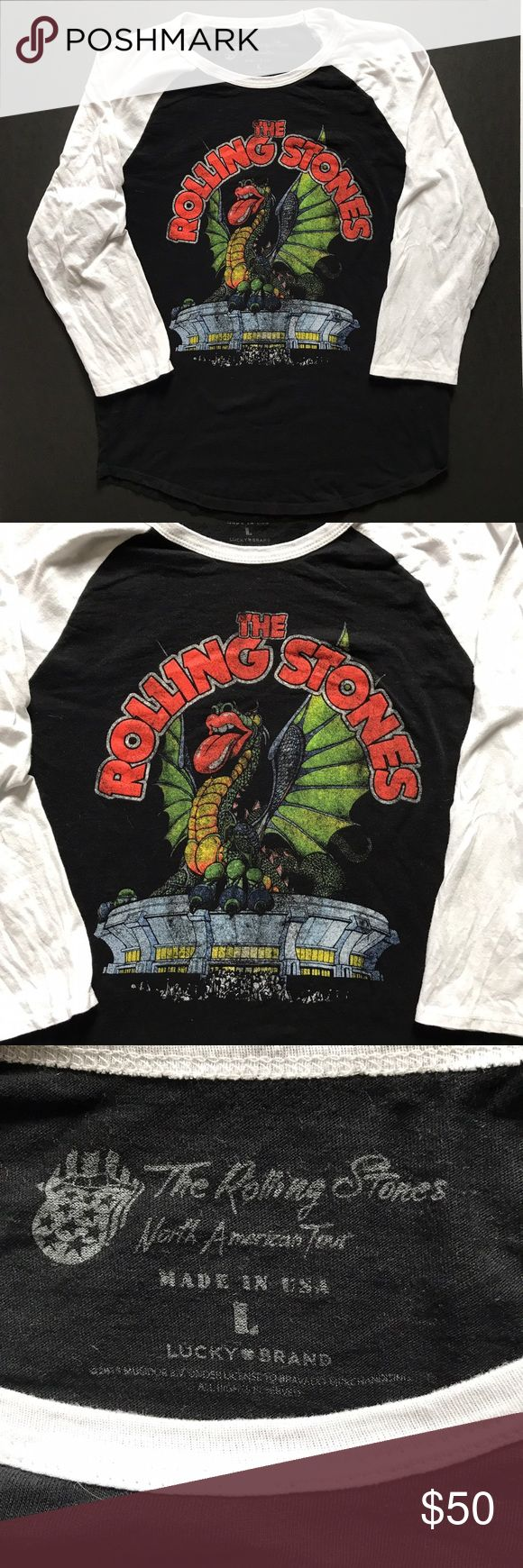 Lucky Brand The Rolling Stones North American Tour This Lucky Brand Rolling Stones North American Tour shirt is in overall good used condition.  There are no stains or holes but there is some light wash wear.  100% cotton.  Bust 20, length 26, 3/4 sleeves.  From a smoke free, pet friendly home. Lucky Brand Shirts Tees - Long Sleeve