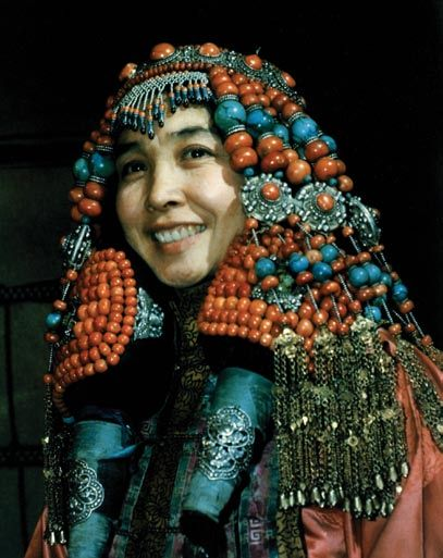 Mongolia | An example of the elaborate headdress of an Erdos woman.