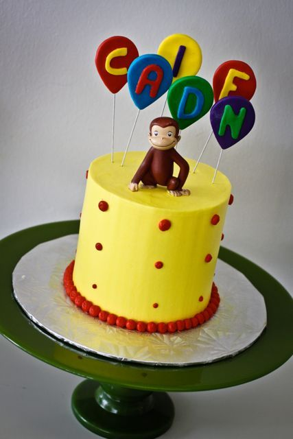 Curious George cake  | Sweet and Saucy Shop...I like the idea of creating balloons with fondant and lollipop sticks
