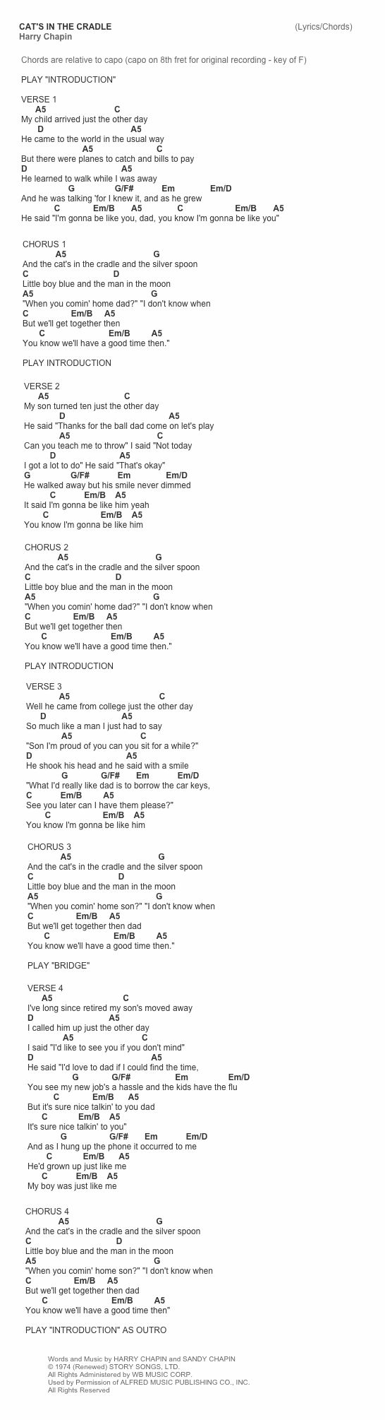 Cat's In The Cradle by Harry Chapin chords and tab cheat