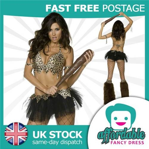 LADIES SEXY CAVEWOMAN FANCY DRESS COSTUME LEOPARD OUTFIT HEN PARTY | eBay