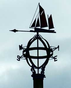 A weathervane atop the Seaman's Shelter