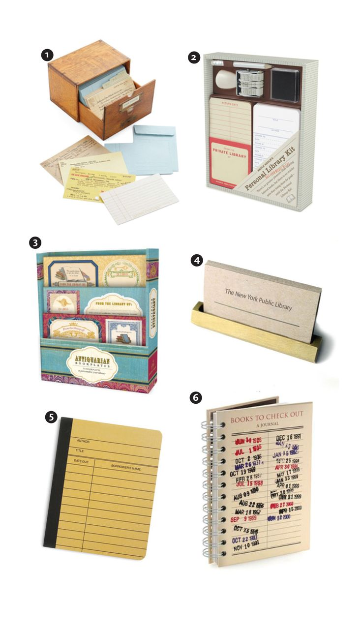 Create your own library at home with these lovely items!   1. Card Catalog   2. Personal Library Kit    3. Antiquarian Bookplates    4. Brass Business Card Holder   5. Library Card Notebook   6. Books to Check Out