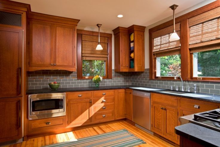 Dark Maple Cabinets for Traditional Kitchen with Traditional