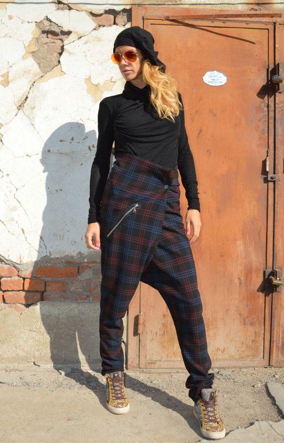 NEW A/W  Loose Casual  Plaid Soft Wool Drop Crotch Harem Pants / Extravagant Plaid Pants  / Casual  Plaid Trousers Design by Silvisport