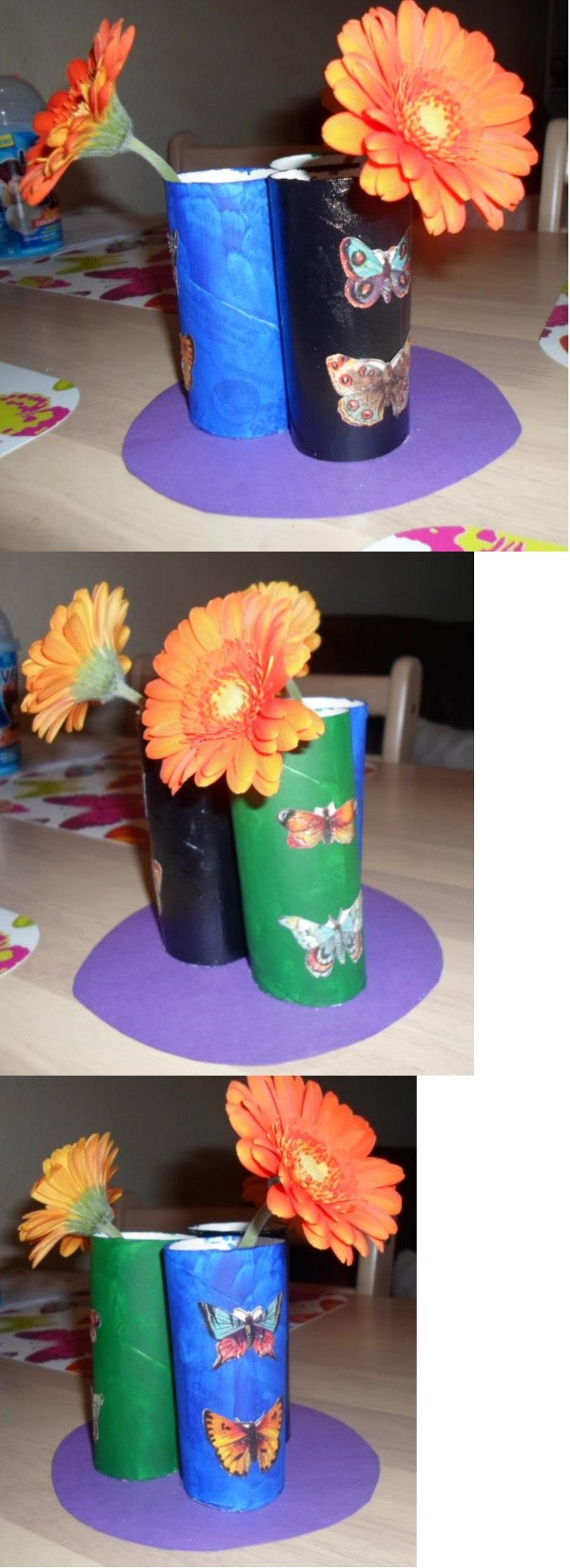 This flower holder is made out of toiletpaper rolls.
