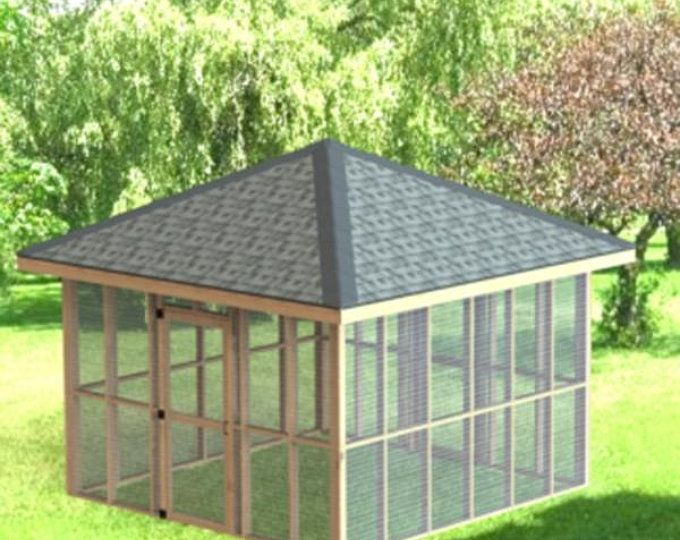 Garden Gazebo Man Cave She Shed Building Plans I Hip Roof 14 Etsy Screened Gazebo Garden Gazebo Shed Building Plans