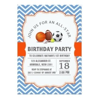 Page of Sport theme birthday invitations #sports #birthday #cool