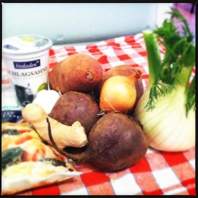 Rote Beete-Süßkartoffel-Fenchel-Auflauf  vegetarisch