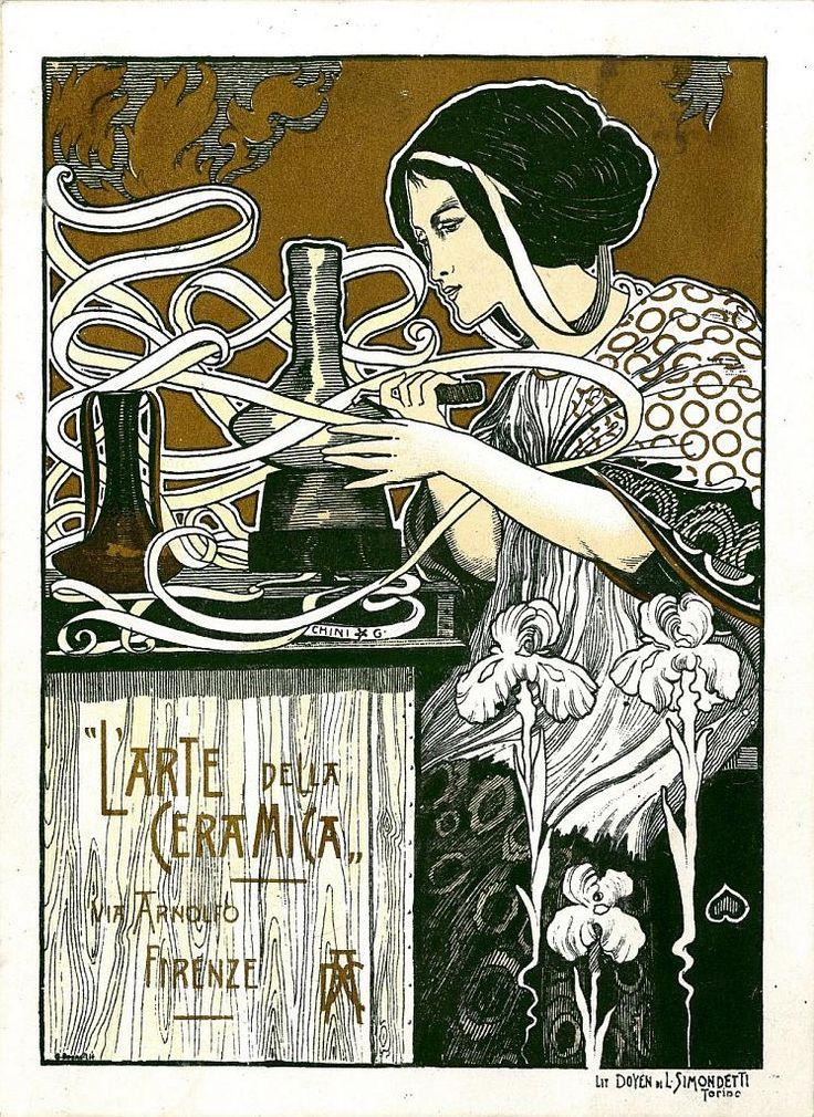 GalileoChini -Advertisement card - L' arte della ceramica - ca.1900