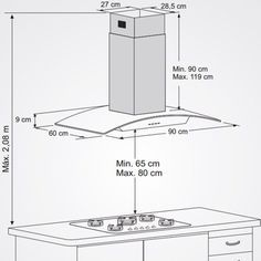 Coifa de Ilha 90CM Island 5455  - Fischer com filtro em painel metálico lavável manualmente ou em lavadora de louças,funciona como exaustor ou filtrador,acabamento diferenciado em aço inox escovado e campana com vidro temperado.