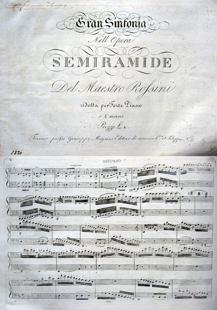 """MUSICA ROSSINI SPARTITO PER FORTE PIANO. ROSSINI G. Gran sinfonia nell'opera Semiramide del Maestro Rossini, ridotta per Forte-Piano, a 4 mani. Torino, Magrini Ed., s.d. (1850 ca.). Spartito, cm.34x24, pp.23. Lievi fioriture, firma a penna, buone condizioni.  #amordilibro #musica #rossini #opera #spartito Per informazioni: Studio bibliografico """"Amor di Libro"""" - Pistoia Tel. e fax: 0573-26758 e-mail: mila.sermi@yahoo.it eBay: http://stores.ebay.it/LA-STORIA-DI-CARTA website…"""