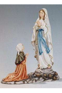 Statua Madonna di Lourdes apparizione cm. 28 altezza cm. 28 in resina e polvere di marmo disponibile anche nel colore bianco  http://www.ovunqueproteggimi.com/collezione-statue/madonne/lourdes/