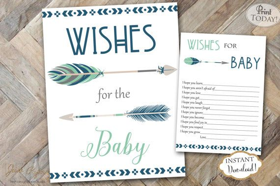 ♥ I N S T A N T D O W N L O A D♥   ♥ COORDINATES! ♥ To see all items in the Navy Mint Tribal Aztec Baby Shower Collection, click here! https://www.etsy.com/shop/JanePaperie/search?search_query=0339   ♥ I N F O R M A T I O N ♥  1. This Predictions for the Baby Sign and Card is an INSTANT DOWNLOAD - print it yourself. No waiting! 2.This file is two 5x7 predictions cards on a single 8.5x11 page.  3. You will ALSO get a 8x10 Predictions for the Baby Sign  4. This file is in PDF format. NO JPEG…