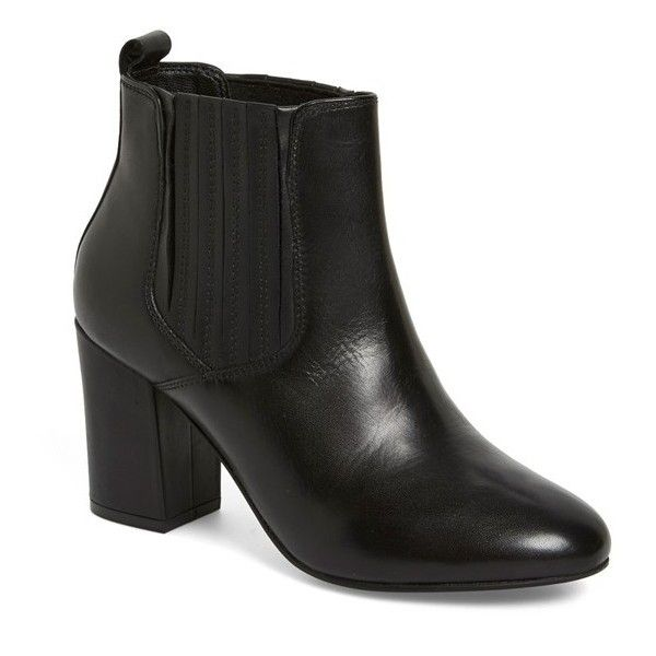 "Steve Madden 'Gasto' Bootie, 2 3/4"" heel (2,540 MXN) ❤ liked on Polyvore featuring shoes, boots, ankle booties, ankle boots, black leather, high heel booties, black ankle boots, black ankle booties and black leather bootie"