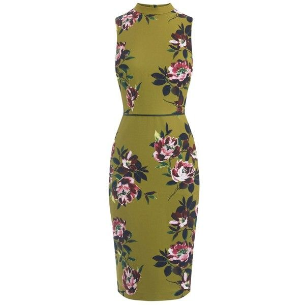 Oasis Painterly Floral Pencil Dress, Multi (£60) ❤ liked on Polyvore featuring dresses, flower print dress, bodycon maxi dress, midi dress, green bodycon dress and floral print maxi dress