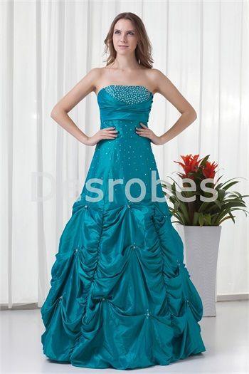 Robe de bal de promo 2014 en taffetas cyan foncé élégante décoration perlée