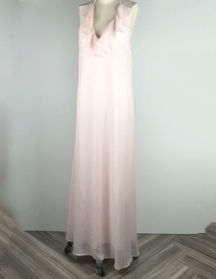 815acbe9d3 Amsale Nouvelle Womens Blush Maxi Dress Medium Ruffle Halter  Bridesmaid Blush Maxi Womens