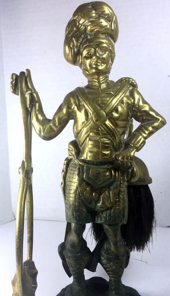 Antique Brass Highlander Figurine Fireplace Mantel Tool Set Silent Butler #Victorian #Unknown
