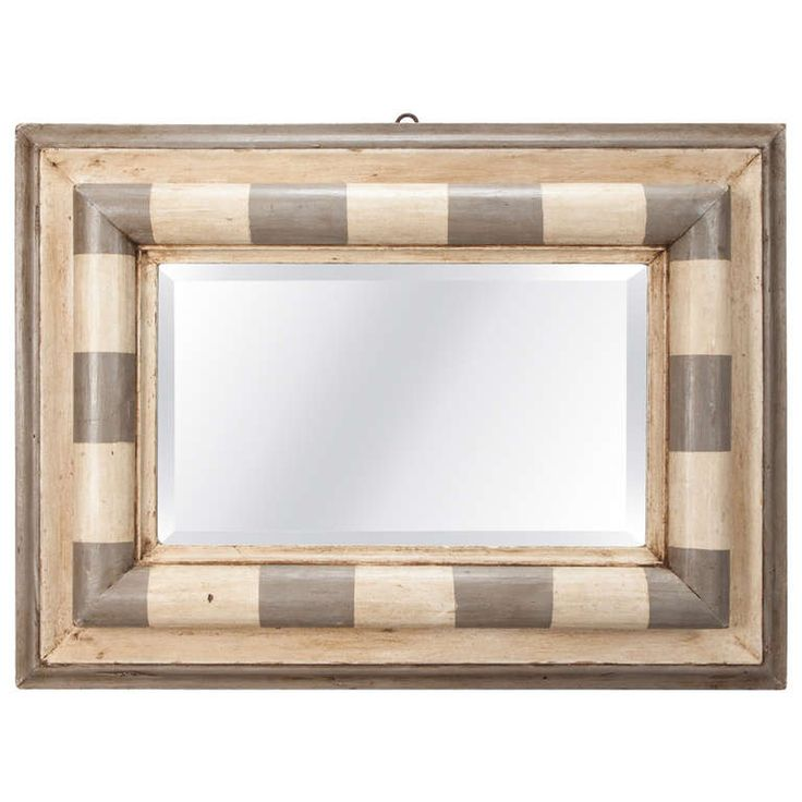 Italian Gray and Cream Framed Mirror | From a unique collection of antique and modern wall mirrors at https://www.1stdibs.com/furniture/mirrors/wall-mirrors/