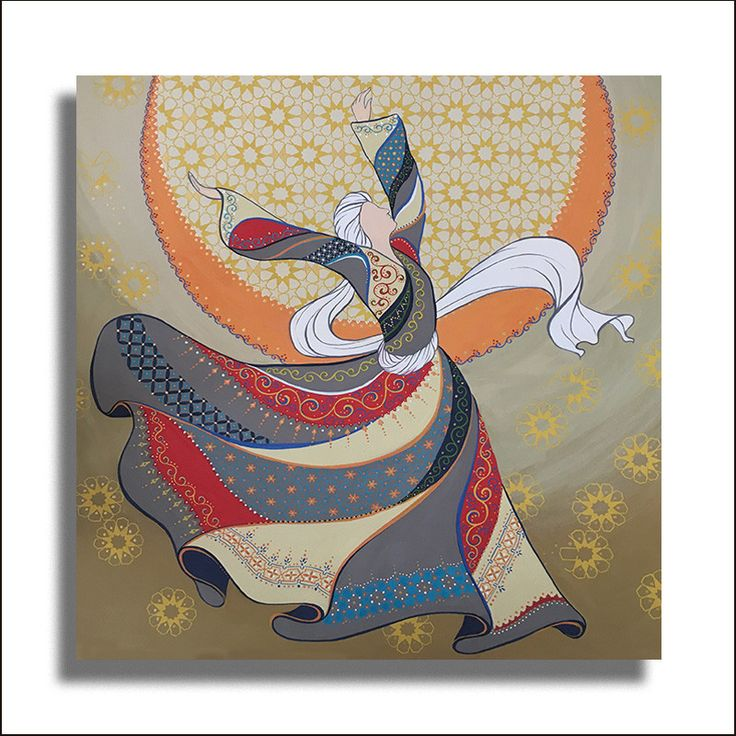 Large Original Painting Whirling Dervish Sufi Dance Rumi Miniature - AESMPL0036