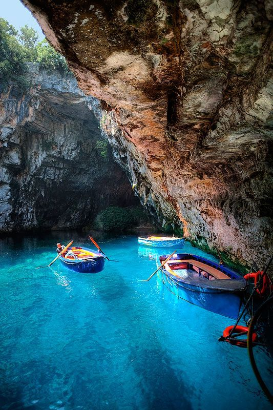 Melissani Lake Dragarati Cave in Kefalonia, Greece