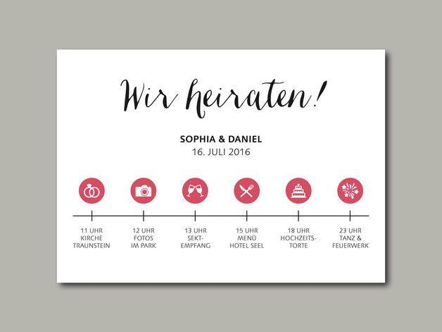 **Liebevoll gestaltete Hochzeitseinladung für euren besonderen Tag!** Das besondere dieser Einladung ist ein Zeitstrahl/Ablaufplan, damit eure Gäste genau wissen was sie erwarten dürfen!  ·...