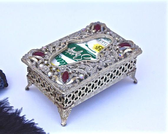 Rhinestone Kleenex Box Vintage Jeweled Ornate Floral
