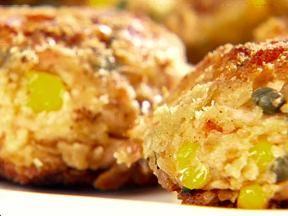 Giada's Salmon Cakes with Lemon-Caper Yogurt Sauce - very yummy and ...